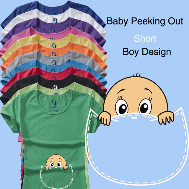 "New Design Funny and Cute ""baby peeking out"" short sleeve Casual Maternity Shirt clothes for pregnant women plus size XXL"