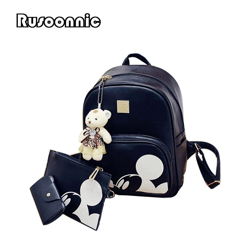 Mickey mochila compuesto de las mujeres mochila de alta calidad pu Mochila De Cuero mochila femenina Mochila de cuero