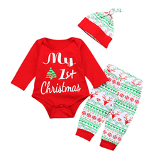 Newborn Baby Girls Boy MY First Christmas Fashion Long Sleeve Bodysuit Stripe Pants 3Pcs Onesies + Trousers Hat Outfits