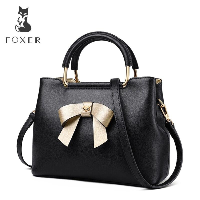 FOXER Brand New Fashion Design Women Elegant Bow Tote Female Winter Crossbody Shoulder Bags Lady Style