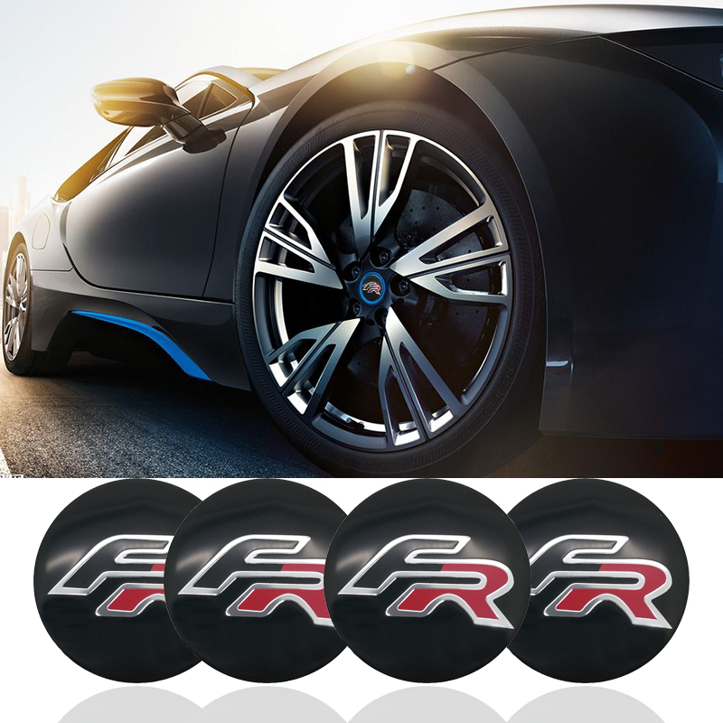 4pcs FR Formula Racing Car logo 56mm Wheel center Hub Cap Car Emblem sticker for BMW SEAT Ibiza Leon Altea ABARTH Car Styling fr metal car stickers emblem badge for seat leon fr cupra ibiza altea exeo formula racing car accessories car styling