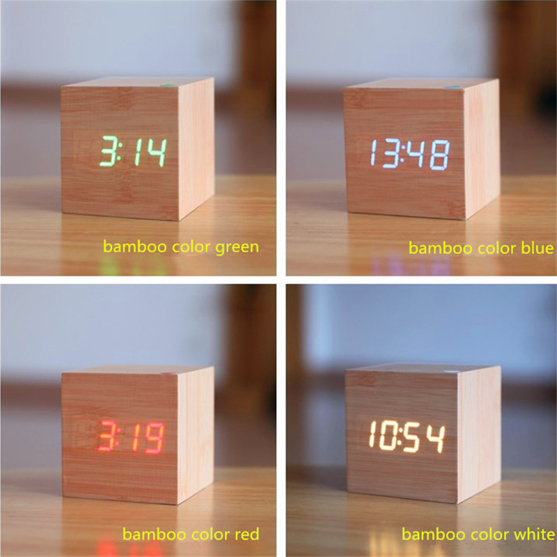 Mini mignonne Led réveil en bois Réveil lumière horloge externe - Décor à la maison - Photo 2