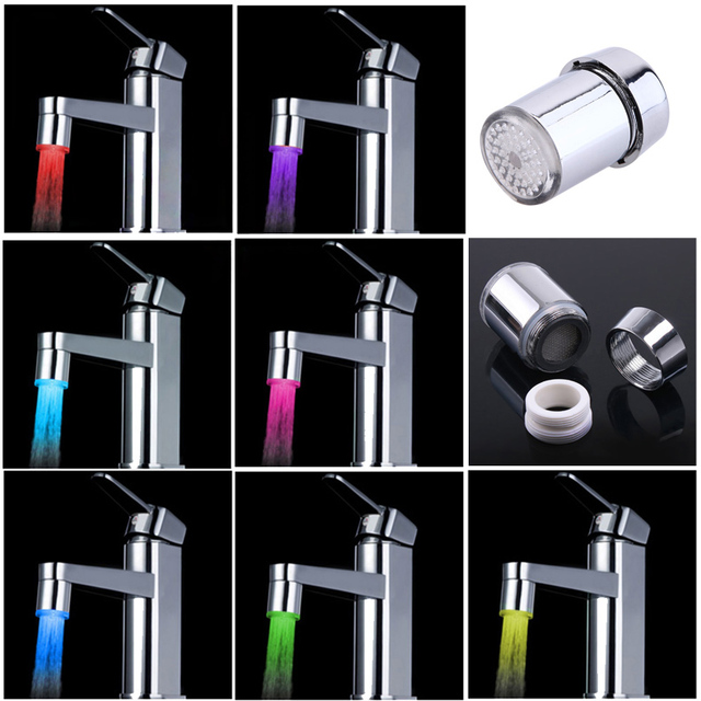 7 Colors RGB Changing Glow LED Water Faucet Stream Light Shower Tap ...