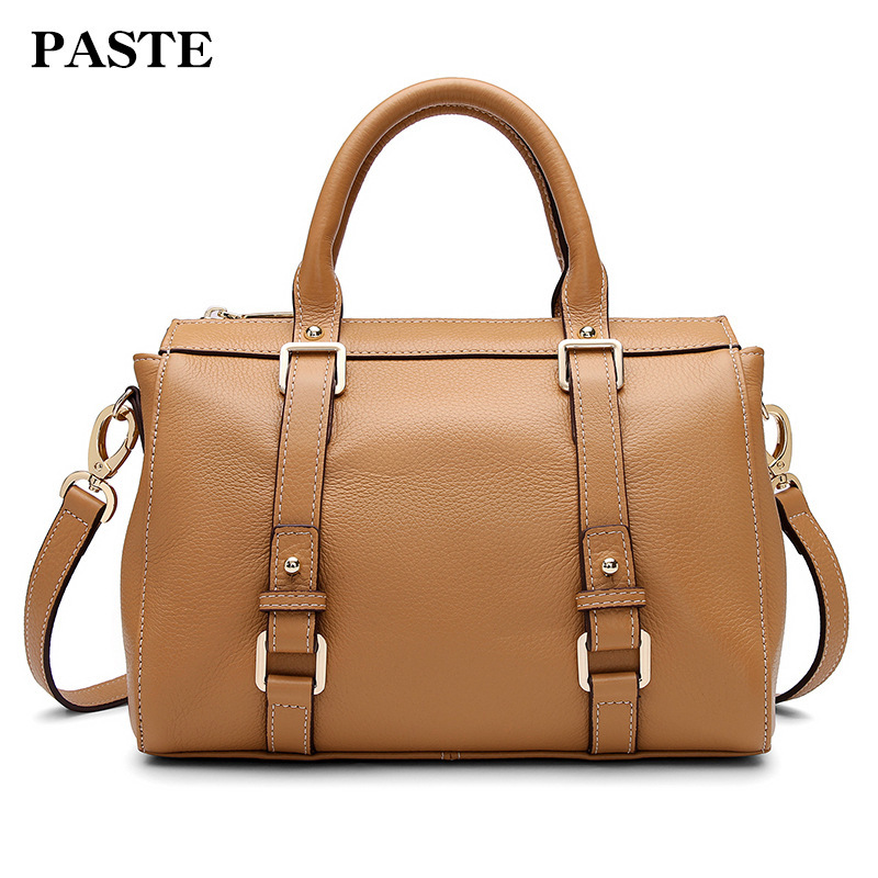 100% Nature Cowhide Tote Shoulder Bag Genuine Leather Handbags For Women Luxury Female Messenger Bag Large Cross body Bag PT32 2018 new women fashion genuine cow leather luxury ol style handbags female brand shoulder bag casual tote cross body bag