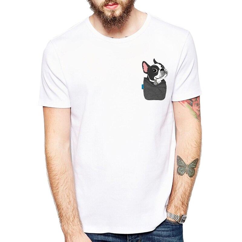 Funny French Bulldog/Boston Terrier/German Shepherd/Labrador Retriever/Chihuahua/Yorkie FU Pocket T-shirts Harajuku Tees