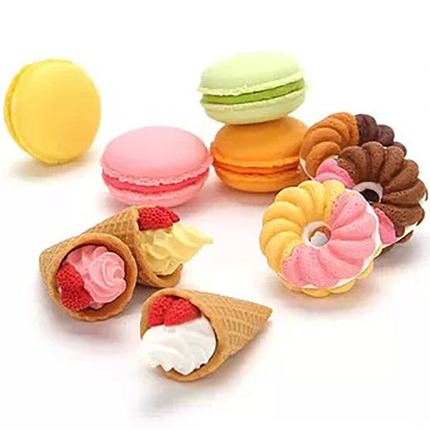 Ice Cream Circle Macaron Shape Eraser Cute Dessert Erasers Student Stationery School Office Supplies Kids Sweet Gift Reward