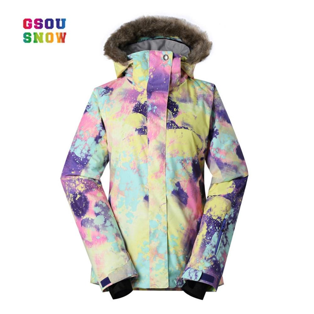 GSOU SNOW Ski Jacket Women Outdoor Windproof Snowboard Coats Waterproof  Fashion Colorful -30 Degree Female 05d4ac35b