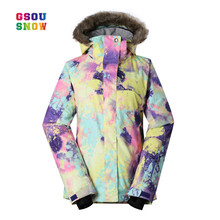 2e7097a208bb7 Chaqueta de esquí de nieve GSOU para mujer al aire libre abrigos de  Snowboard impermeables de moda colorida-30 grados chaquetas .