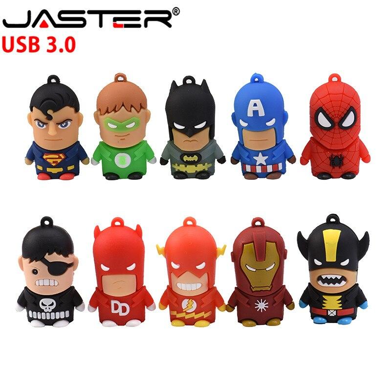 JASTER USB 3.0 Cartoon Superman Spiderman Batman Captain America Silicone USB Flash Drive Pen Drive 64GB 4GB16GB 32GB USB HOT