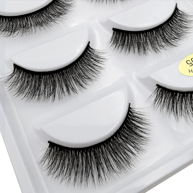 SHIDISHANGPIN 5 pairs eyelashes natural long mink eyelashes hand made 3d false eyelashes makeup full strip lashes 3d mink lashes