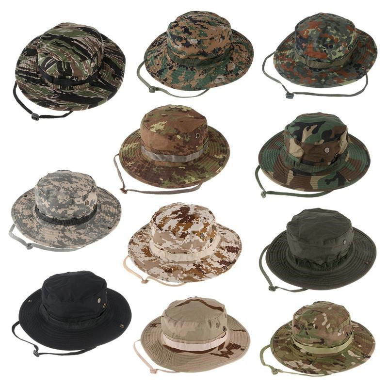2f11c1e98b2 Outdoor Hiking Fishing Hat Camouflage Bucket Hat Fisherman Camo Jungle Bush  Hats Boonie UV Protection Wide Brim Ripstop Sun Cap