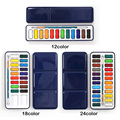 3 Styles Portable Tin Box Solid Watercolor Paints Set for Artist School Student Outdoor Water Color Sketch Painting Stationery