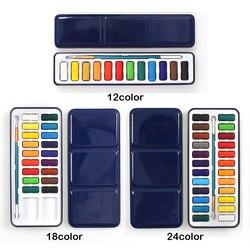 3 estilos caixa de lata portátil sólido aquarela tintas conjunto para artista escola estudante água ao ar livre pintura esboço cor papelaria