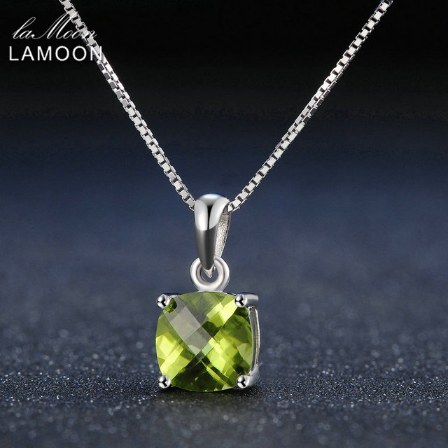 Lamoon 7mm Natural Square Peridot 925 Sterling Silver Simple Pandent Chain Neckl