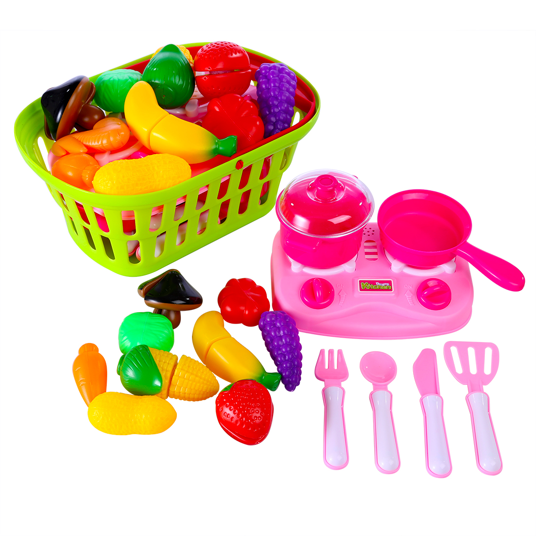 Funny Children Pretend & Play Toy Emulational Vegetables Fruits Cutting Kitchenware Set With Acousto-optic For KidsFunny Children Pretend & Play Toy Emulational Vegetables Fruits Cutting Kitchenware Set With Acousto-optic For Kids