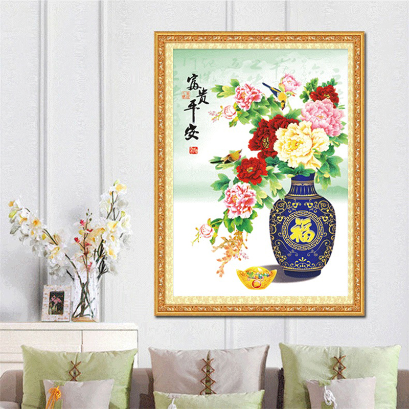 Full Diamond Painting Rich And Safe Vase Diy Diamond Embroidery Chinese Style Lucky Decorated Living Room A Good Gift For Family
