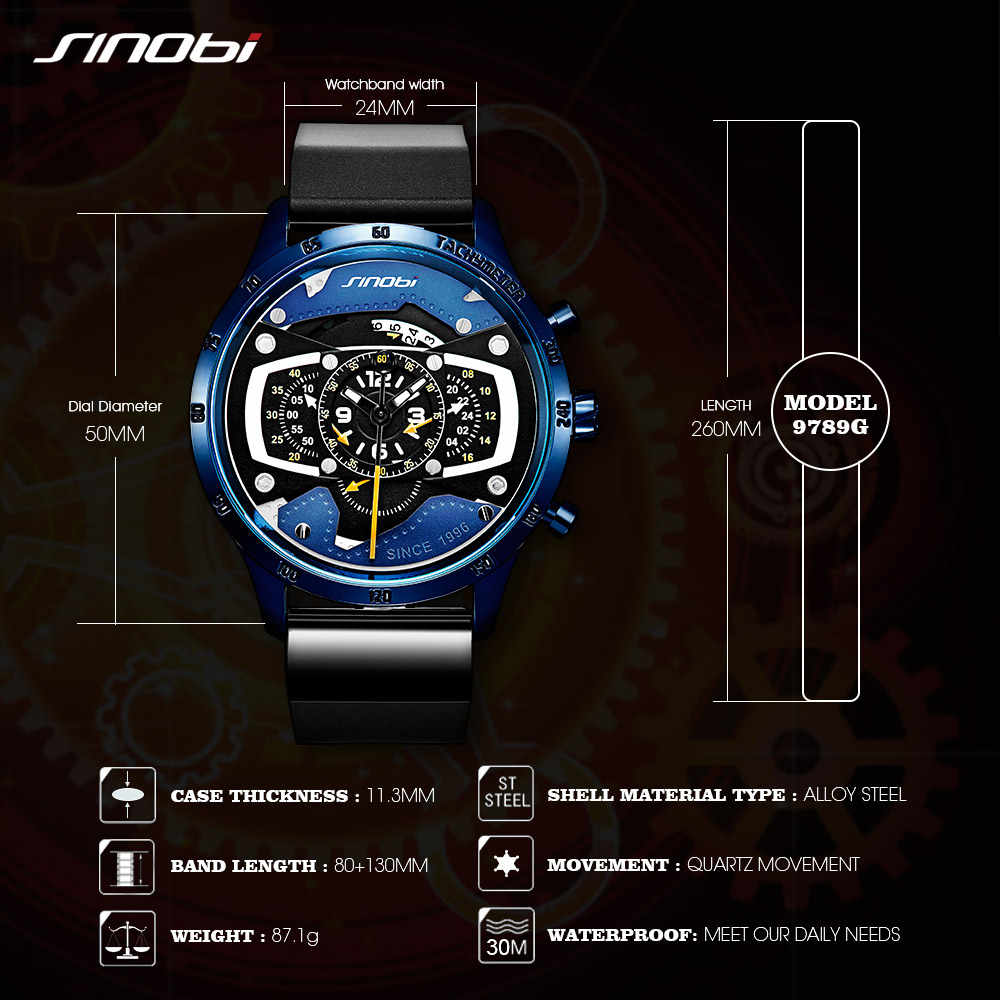 Relojes Hombre SINOBI coche creativo Hombre reloj Hombre moda carreras velocidad deporte cronógrafo silicona Relojes cuarzo reloj de pulsera