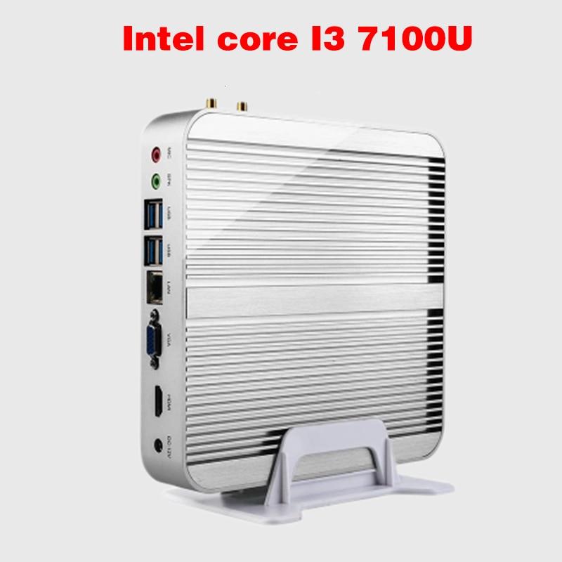 Mini PC Intel 7e Gen Kaby Lac Windows 10 i3 7100U Fanless Ordinateur 4 K HD Graphics 620 300 M Wifi HDMI TV Box Free Shipping блок питания 4parts lac hp03 hp 18 5v 6 5a 7 4x5 0mm 120w