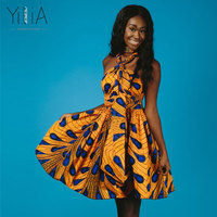 Yilia Many Way Vestidos Summer 2018 Women Dress Feather African Print Clothing Casual Sexy A Line
