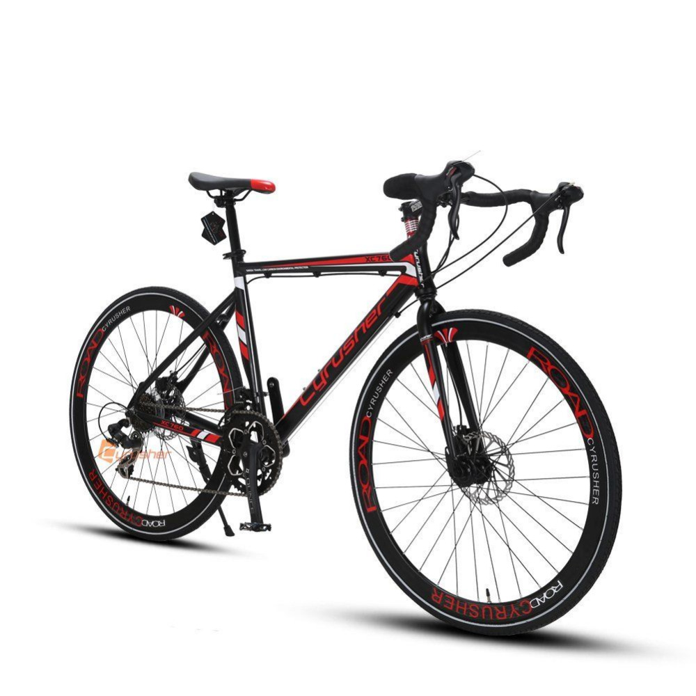 Cyrusher XC760 Mans Road Bike 700C*52cm Aluminum Alloy Frame Cycling Double Disc Drake 14 speed Racing Bicycle US Warehouse  new brand 14 speed racing bike 700c 50cm bike aluminum alloy frame bend bicycle cycling disc brake road bike drop shipping