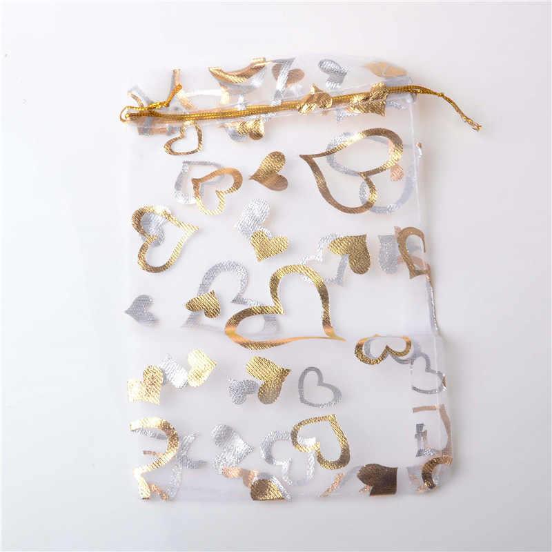 6b7786df1367 Multicolor Permed Gold Peach Heart Gauze Bags Jewelry Sachet Gift Bag  Wedding Sugar Rope Bag Organza Transparent Rope Mesh Bag