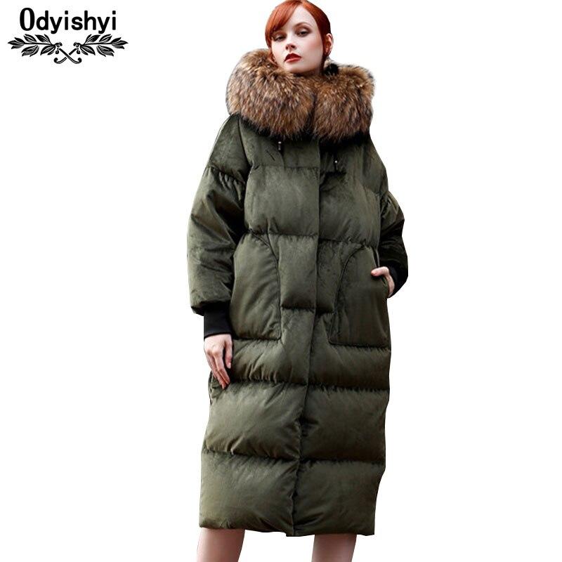 Winter Gold Velvet Down Coat Women Thicken Luxury Big Fur collar Quality White Duck Down Jackets
