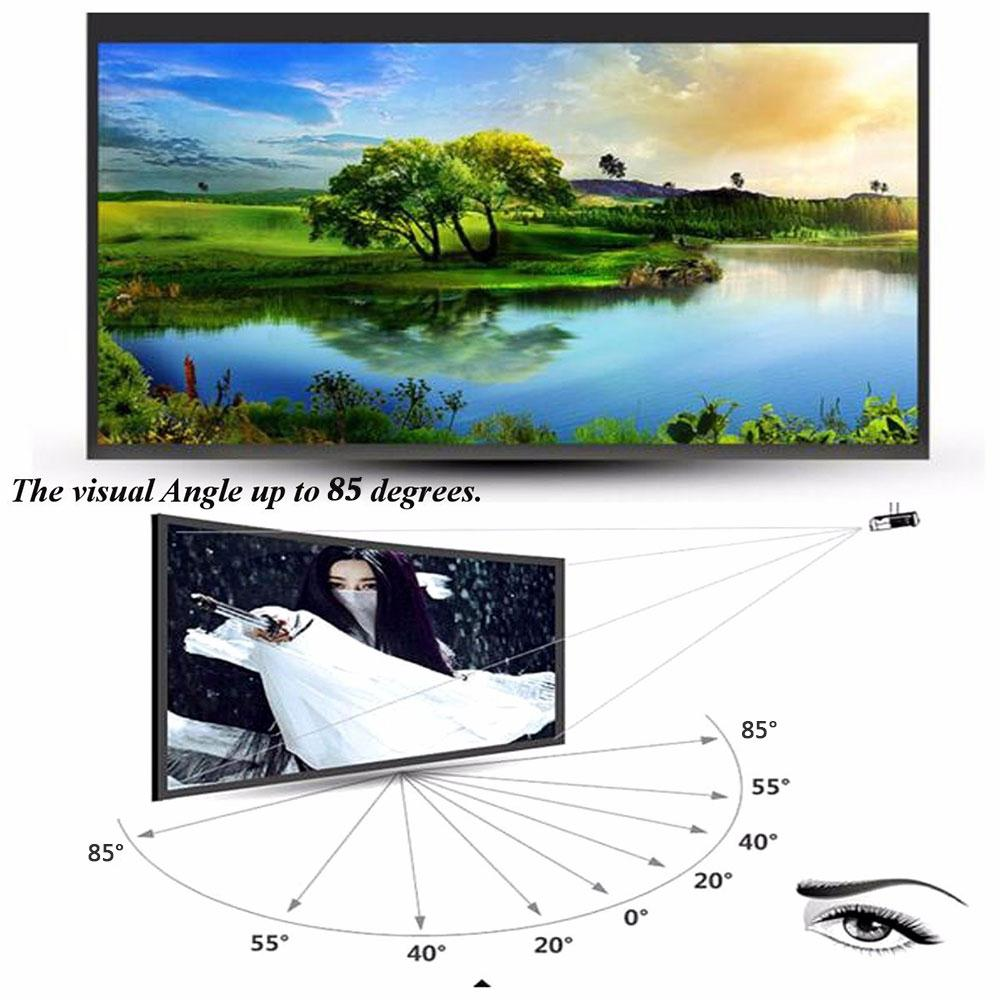 Projector Screen White 60 Inch Foldable Projection Screen Portable Polyester 170 Degrees Home Theater Weddings Outdoor Cinema