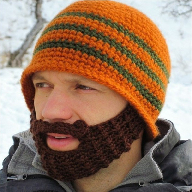 Knitted Crochet Wacky Beard Hats Warm Handmade Caps For Men Bicycle ...