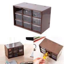 цена на New 9 Drawer Plastic Storage Cabinet Desktop Makeup Bin Box Jewellery Organizer Home Storage Drawers 2 Colors