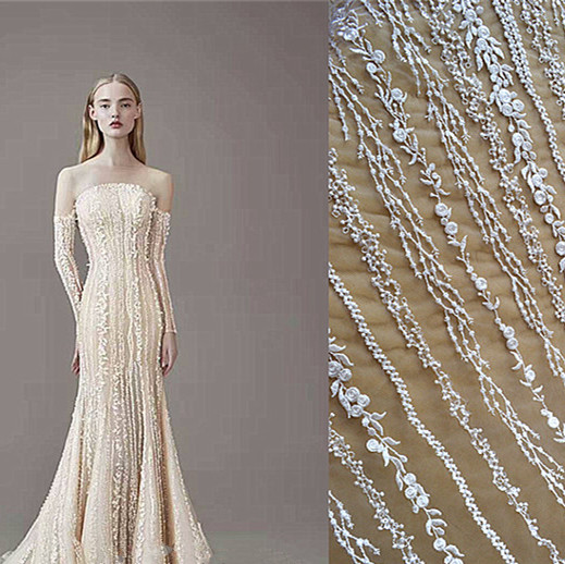 Vertical Striped Lace Fabric Striped Fairy  Wedding Dress Resort Wear Childrens Clothing Fabrics DIY Accessories AccessoriRS535Vertical Striped Lace Fabric Striped Fairy  Wedding Dress Resort Wear Childrens Clothing Fabrics DIY Accessories AccessoriRS535