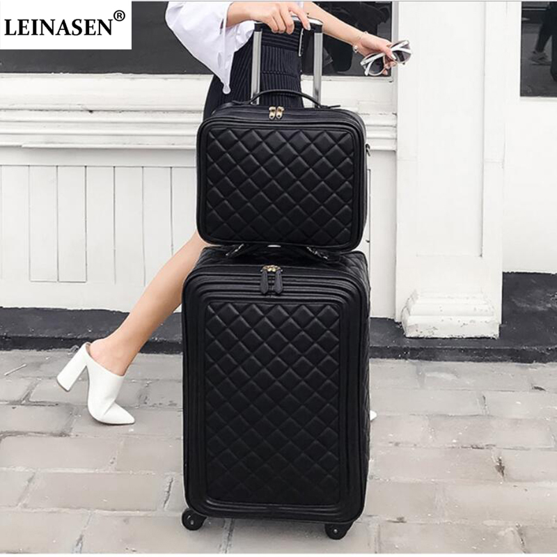 New fashion 16 20 24 inch women spinner leather retro trolley bag travel suitcase PU hand luggage set