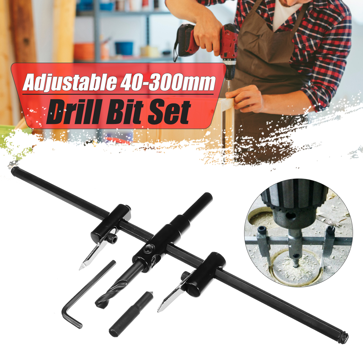 Adjustable 40-300mm Metal Wood Circle Hole Cutter Wood Drywall Drill Bit Saw Round Cutting DIY Tool wood plasterboard spot hole saw circle cutter adjustable 300mm