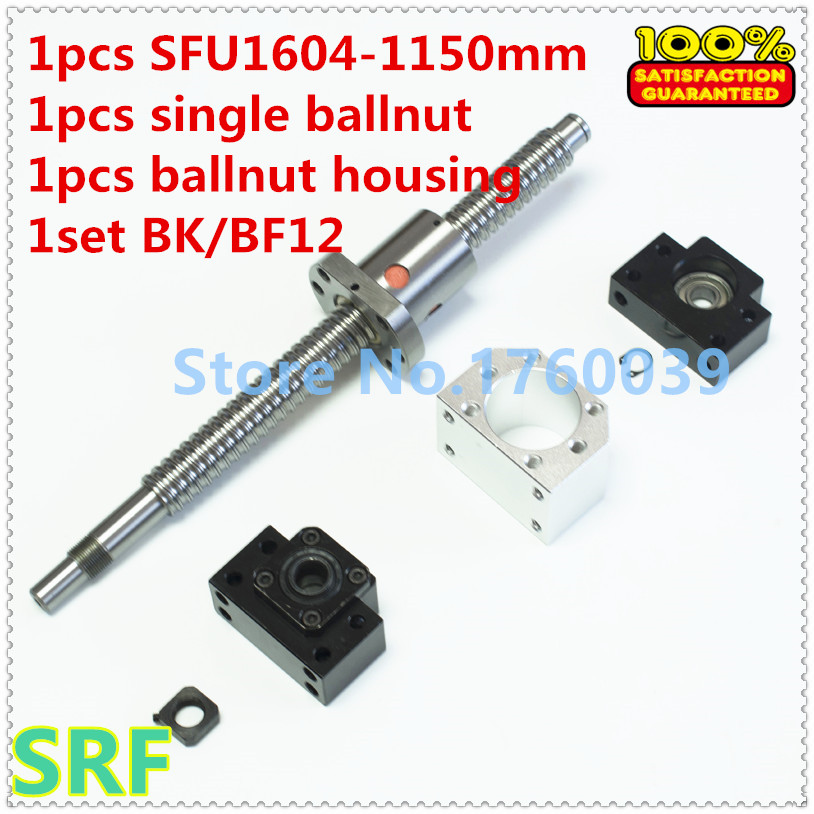 1604 Ballscrew set:1pcs 16mm Ball screw SFU1604 L=1150mm C7+1pcs single Ballnut +1set BK/BF12 support+1pcs ballnut housing hot sale 1pcs 1604 rolled ball lead screw length 600mm 1pcs sfu1604 single ballnut 1set bk bf12 ballscrew end support cnc
