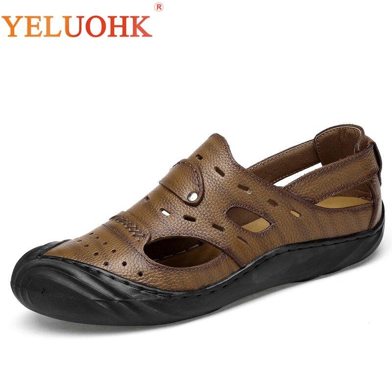 Genuine Leather Men Sandals Top Quality Leather Sandals Men 2018 Summer Shoes
