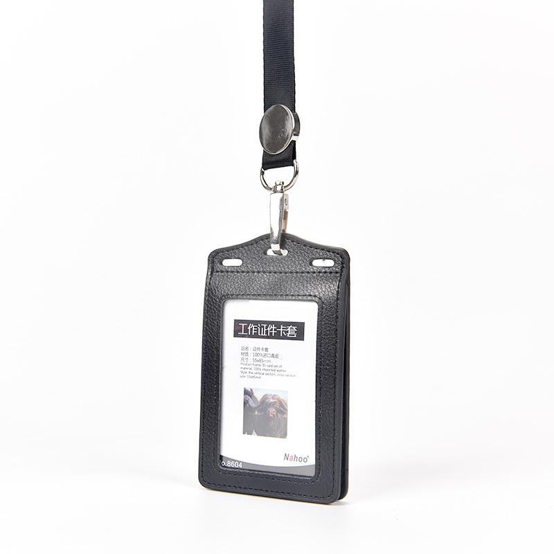 Купить с кэшбэком Nahoo Genuine Leather Lanyards Id Badge Holder Double Card Sleeve ID Badge Case Clear Bank Credit Card Badge Holder Accessories