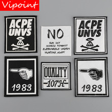 VIPOINT embroidery printed warning patches letter alphabet badges applique for clothing YM-35