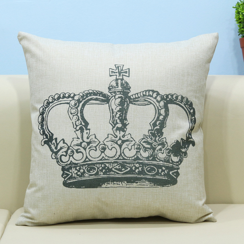 New 45x45cm Linen Cotton Hipster Style Crown Sofa Decoration Car Living  Room Chair Back Pillow Cushion
