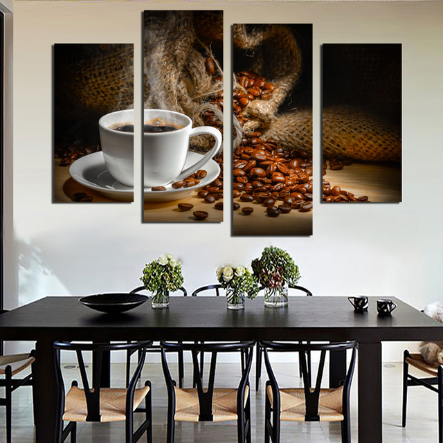 4 Panels Canvas Painting Fragrant Coffee Beans Print On Wall Art Picture Kitchen Home Unframed