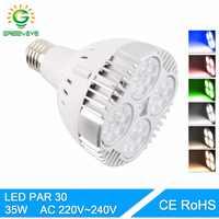 Greeneye par30 35 w lâmpada led spotlight ac 220 v 240 v rgb led par lampara para para iluminação doméstica smd 2835 super brilhante lampara e27