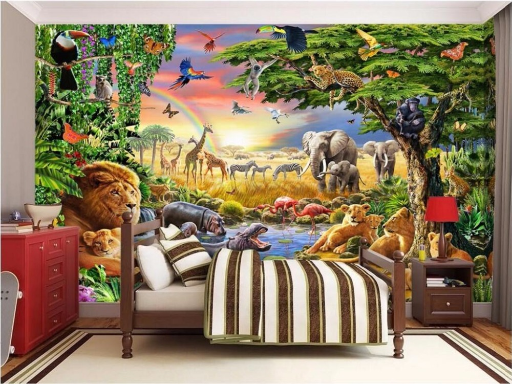 3d Wallpaper Custom Photo Mural Grassland Animal Lion