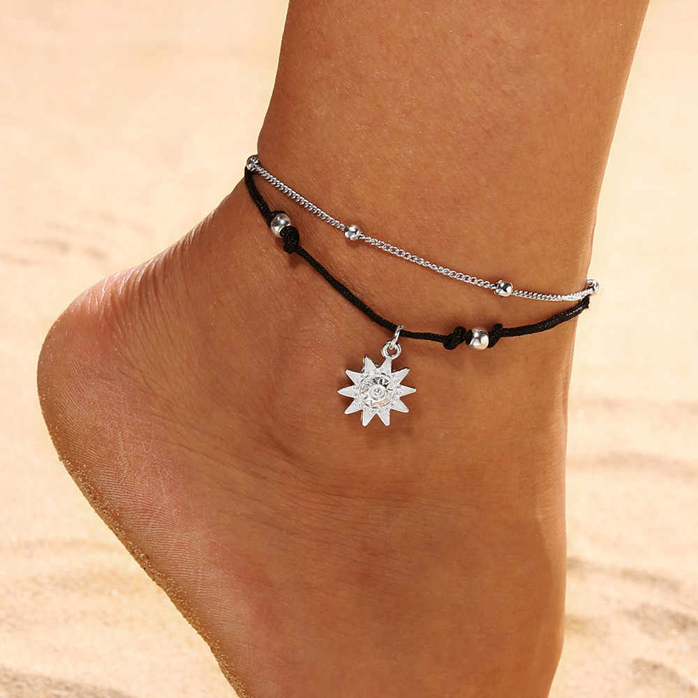 Ankle bracelet Double Chain  Sun Anklet Jewelry Beach Section Anklets Beads Boho Foot Gothic Bo Enkelbandjes Sieraden #CE2