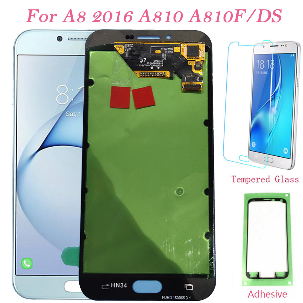 Test LCD Screen For Samsung Galaxy A8 2016 A810F Touch Screen Digitizer LCD Display For Samsung A810 A810F/DS A810YZ Assembly A8