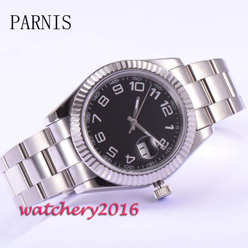 Stainless steel 40mm Parnis Black Dial Roman numerals date window saphire glass automatic Men's Watch