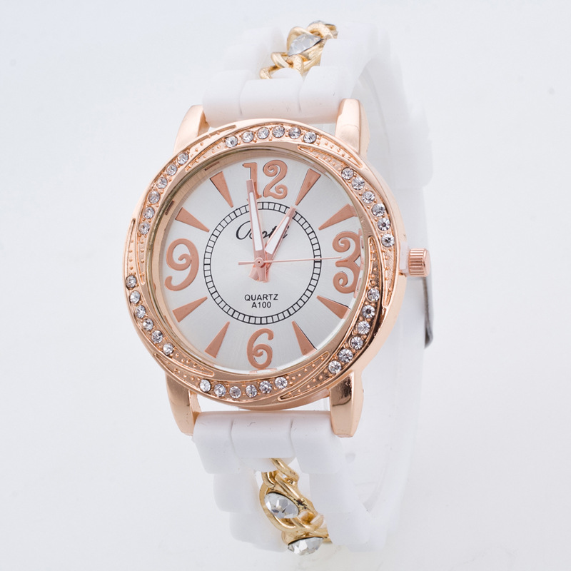Top Design Diamond Silica Gel Strap Women Number Quartz Watch damask silica gel mold