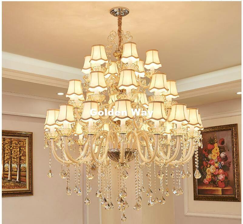 Free Shipping European Hotel Chandelier E14 LED Lamparas Retro Cognac Chandelier Cristal Lustre Penthouse AC Cystal Chandelier
