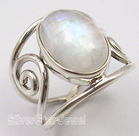 Silver Real OVAL RAINBOW MOONSTONE HANDCRAFTED Ring Any Size CHRISTMAS DAYDA