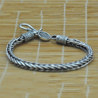 Vintage Real Pure 925 Sterling Silver Handmade Braided Chain Bracelet For Men Jewelry Mens Bracelets 2017