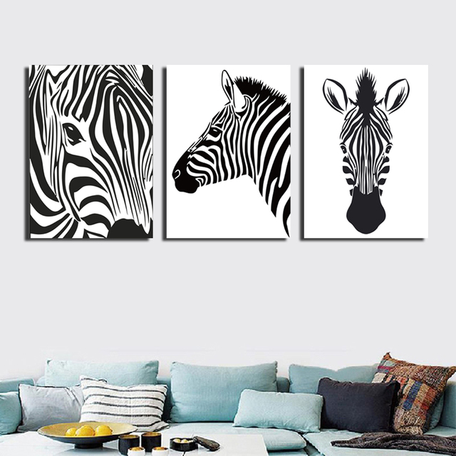 3 Pieces Cartoon Portraits Zebre Photo Imprimee Sur Toile Peinture