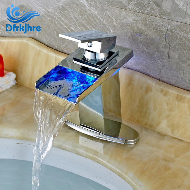 Free Shipping Chrome Finished Deck Mounted Bathroom Sink Faucet LED Spout Mixer Tap With 4 Cover Plate