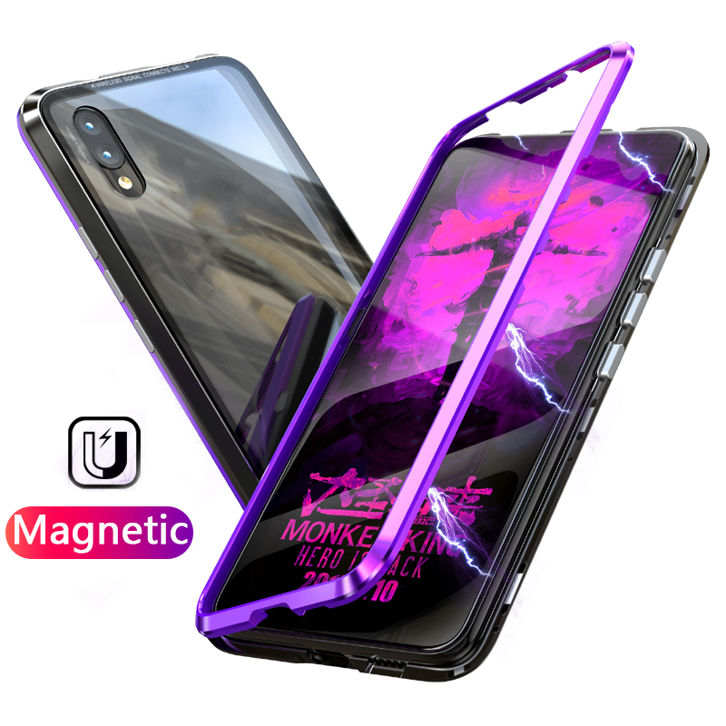 luxury Metal bumper Transparent glass back cover for huawei mate p20 pro lite Magnetic Adsorption Case